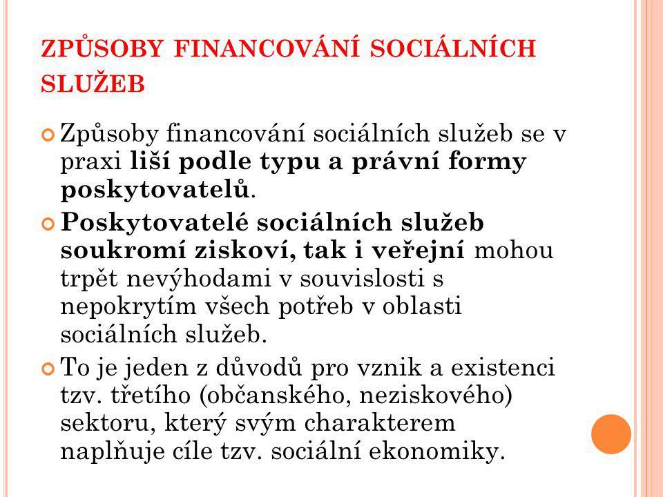 ZPŮSOBY FINANCOVÁNÍ SOCIÁLNÍCH SLUŽEB Způsoby financování sociálních služeb se v praxi liší podle typu a právní formy poskytovatelů.