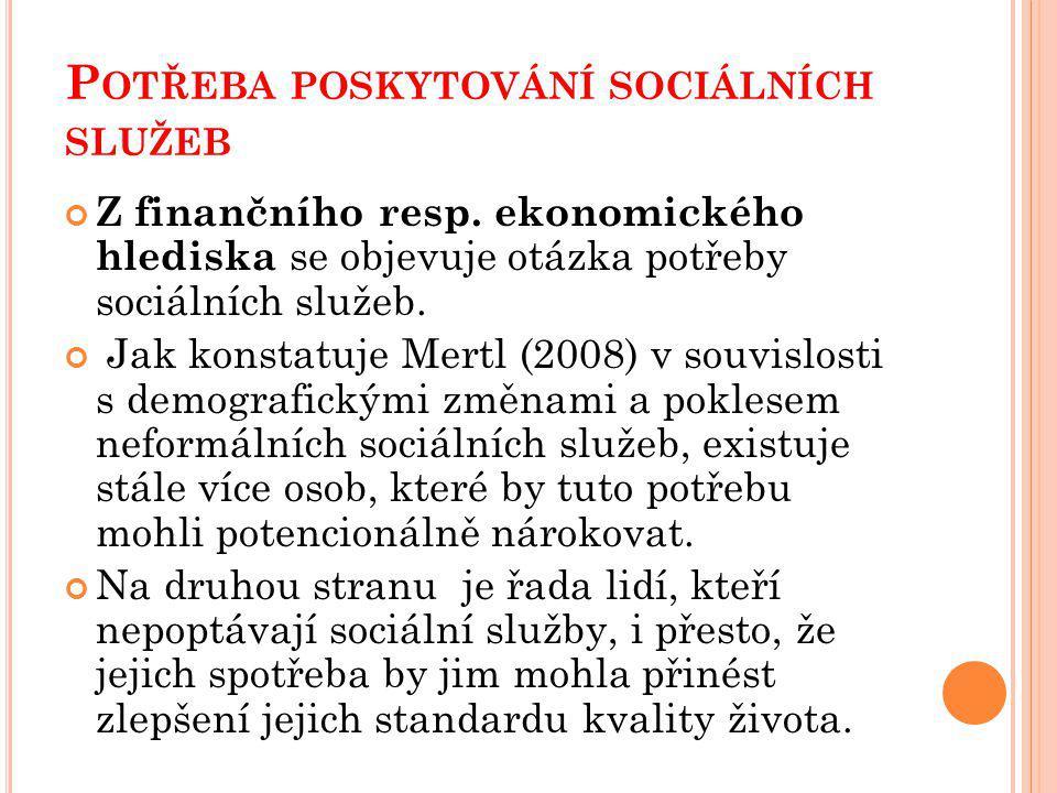 P OTŘEBA POSKYTOVÁNÍ SOCIÁLNÍCH SLUŽEB Z finančního resp.