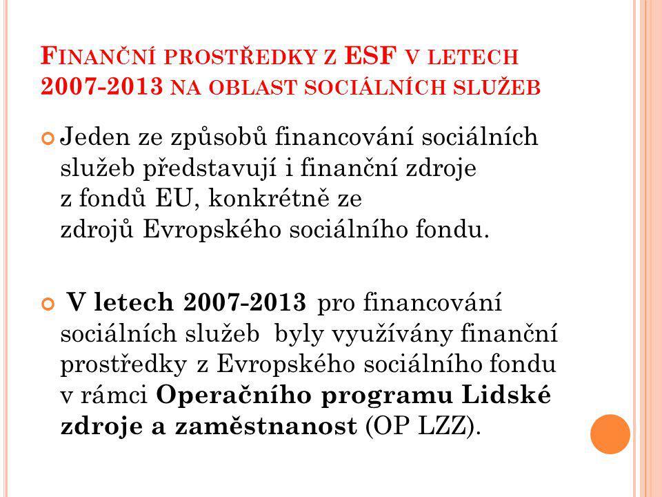 F INANČNÍ PROSTŘEDKY Z ESF V LETECH 2007-2013 NA OBLAST SOCIÁLNÍCH SLUŽEB Jeden ze způsobů financování sociálních služeb představují i finanční zdroje z fondů EU, konkrétně ze zdrojů Evropského sociálního fondu.