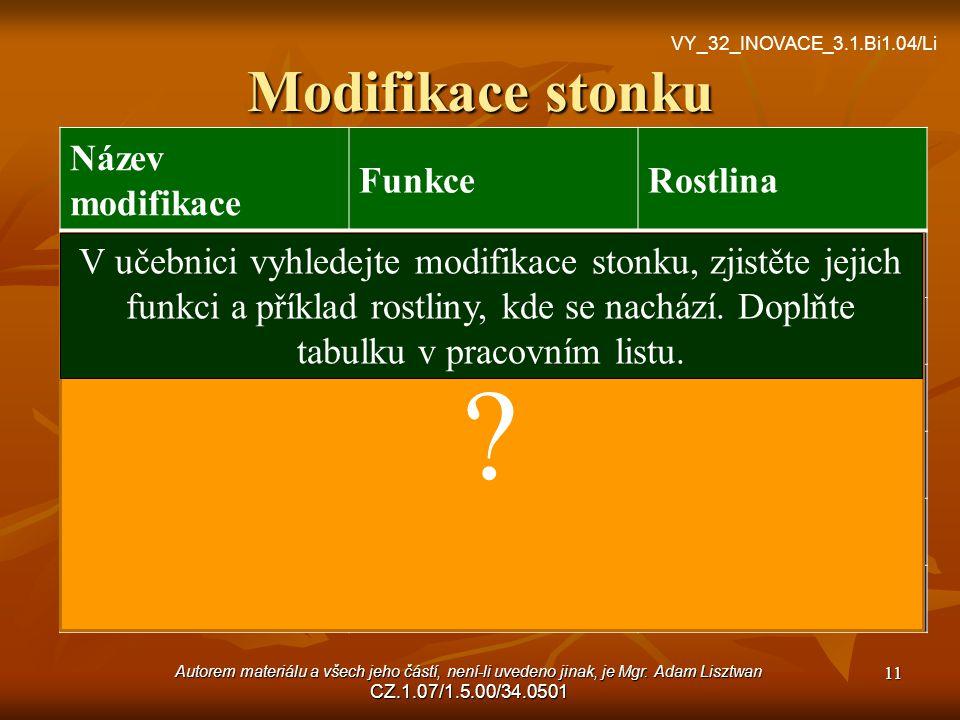 Modifikace stonku VY_32_INOVACE_3.1.Bi1.04/Li ? Název modifikace FunkceRostlina oddenekzásobnísasanka oddenková hlízazásobníbrambor stonková hlízazáso