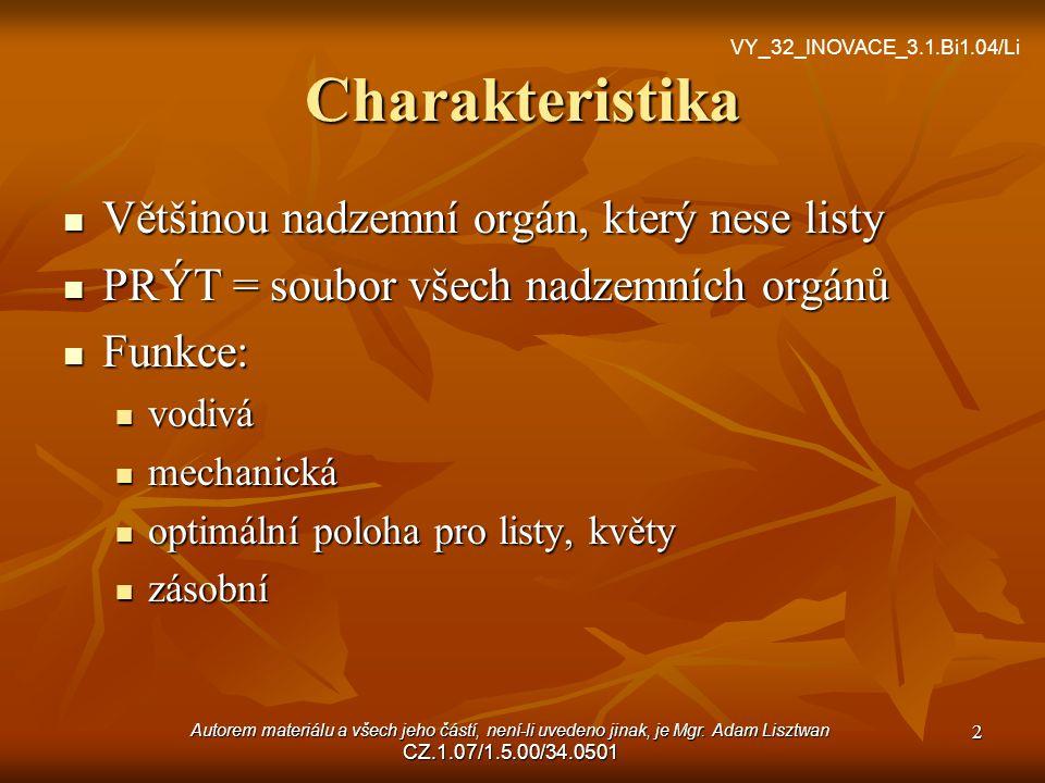 Pupeny Základ budoucího rostlinného orgánu vyrůstající na stonku Dělení: Stonkové (základ stonku, větve) Květní (základ květu) Listové (základ listu) 3 VY_32_INOVACE_3.1.Bi1.04/Li Autorem materiálu a všech jeho částí, není-li uvedeno jinak, je Mgr.