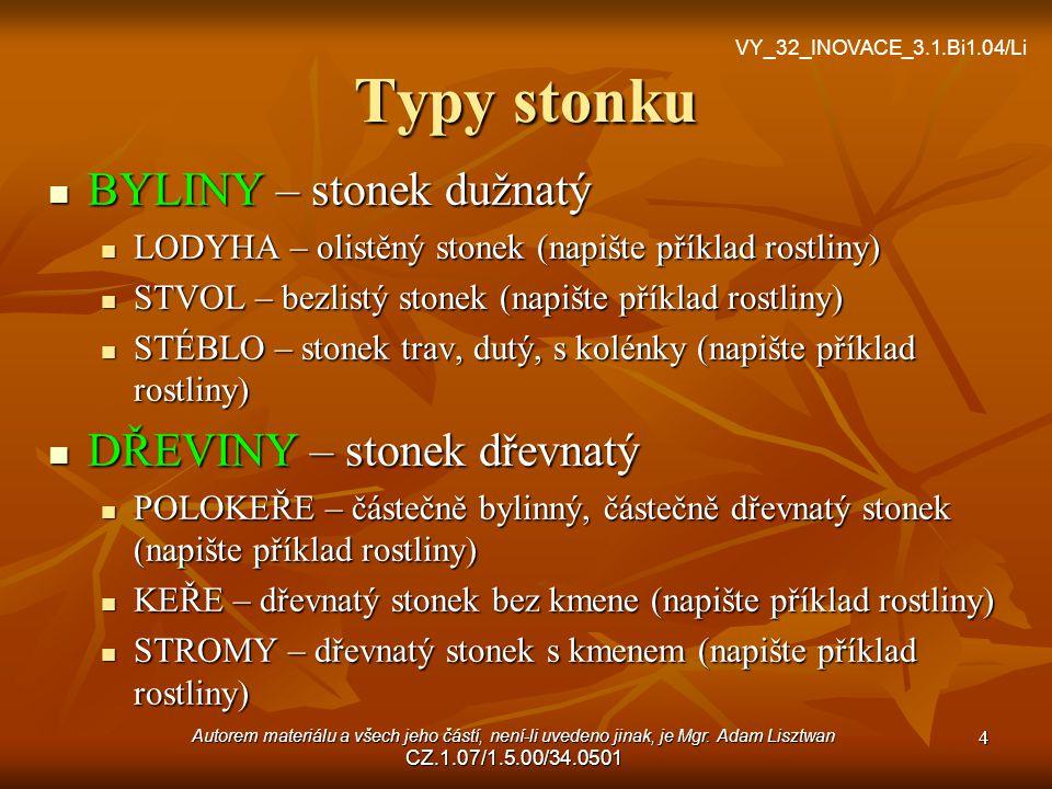 Typy stonku BYLINY – stonek dužnatý LODYHA – olistěný stonek (napište příklad rostliny) STVOL – bezlistý stonek (napište příklad rostliny) STÉBLO – st
