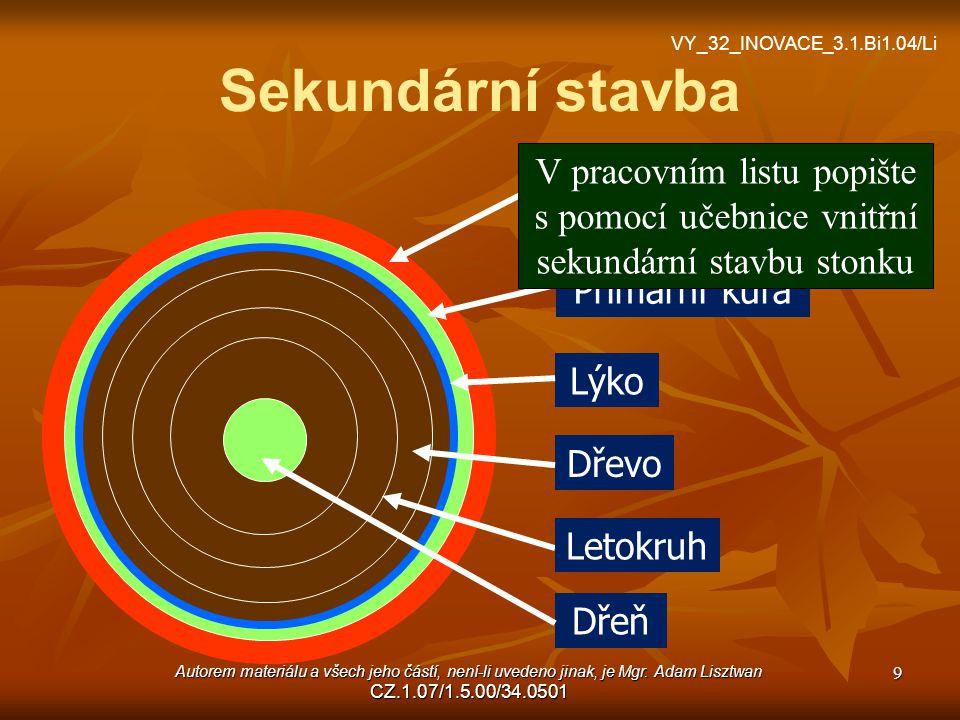 Srovnání primární a sekundární stavby stonku Struktura Primární stavba Sekundární stavba Povrch stonkuepidermisperiderm Letokruhyneano .