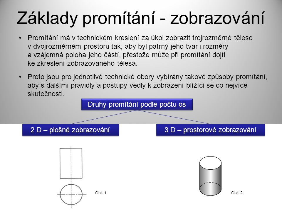 Základy promítání - zobrazování Promítání má v technickém kreslení za úkol zobrazit trojrozměrné těleso v dvojrozměrném prostoru tak, aby byl patrný j