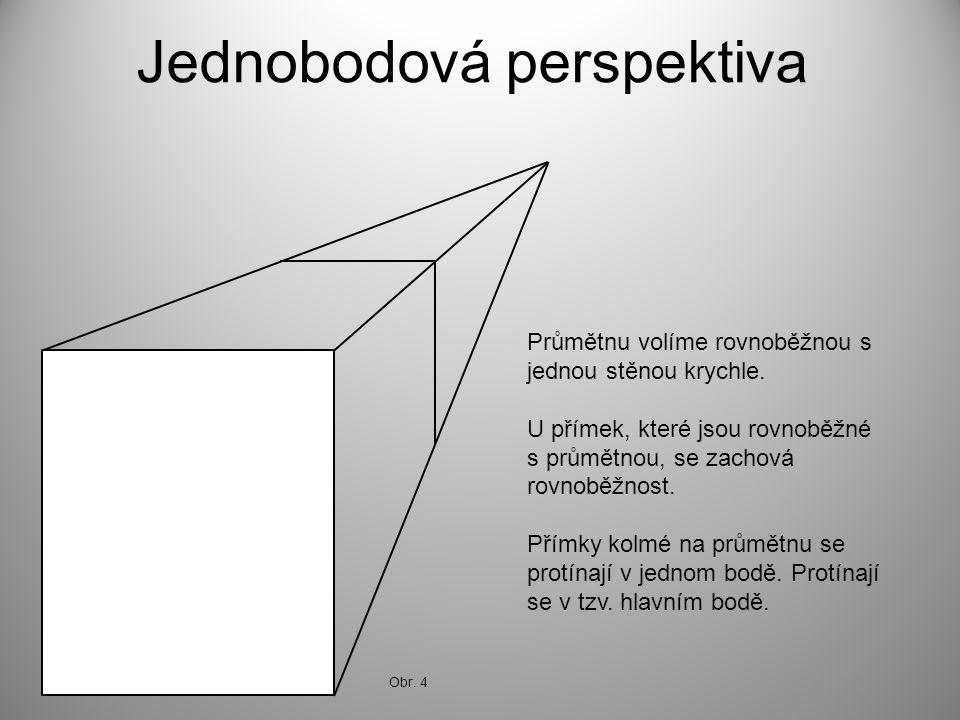 Jednobodová perspektiva Průmětnu volíme rovnoběžnou s jednou stěnou krychle. U přímek, které jsou rovnoběžné s průmětnou, se zachová rovnoběžnost. Pří