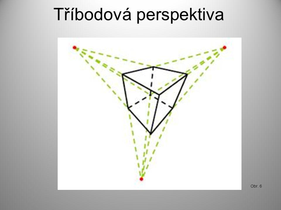 Tříbodová perspektiva Obr. 6