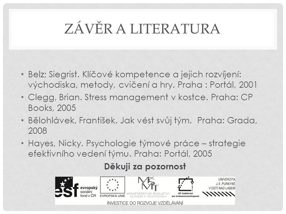 ZÁVĚR A LITERATURA Belz; Siegrist. Klíčové kompetence a jejich rozvíjení: východiska, metody, cvičení a hry. Praha : Portál, 2001 Clegg, Brian. Stress