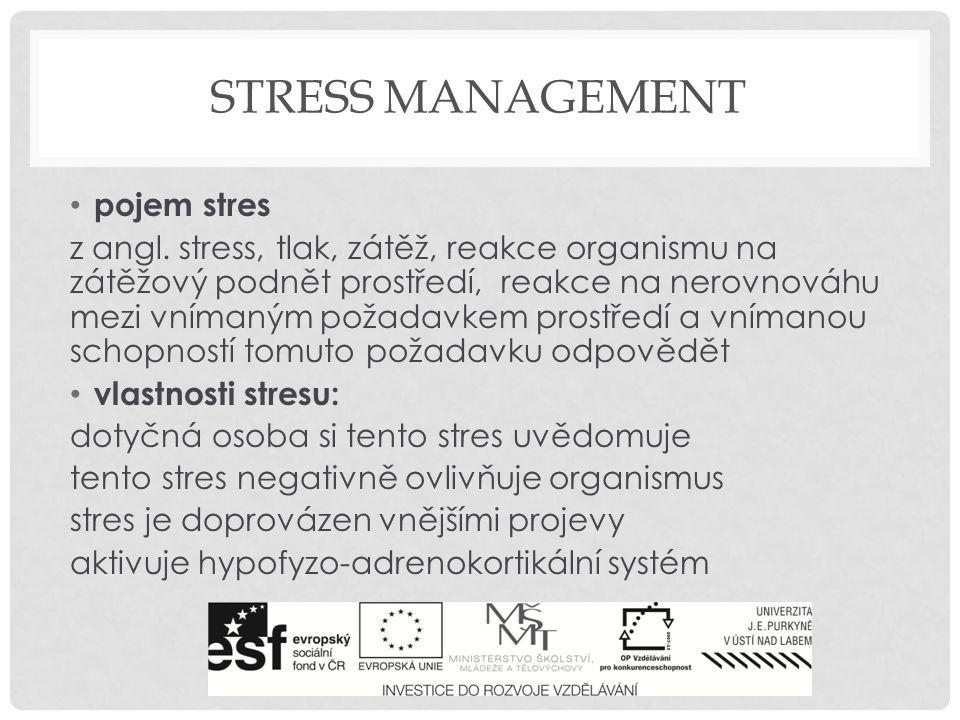 ZDROJE STRESU zdroje stresu: fyzické faktory: hluk, extrémní vedra, povodně, exhalace existenční faktory: strach ze ztráty zaměstnání, finanční problémy, sociální faktory: konflikty s jinými lidmi tělesné faktory: onemocnění, hormonální výkyvy, nedostatek pohybu, poruchy spánku, omezená mobilita intrapersonální faktory: vlastní myšlenky, obavy