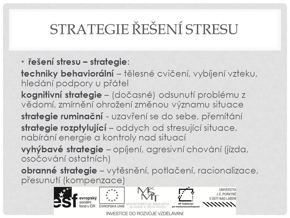 STRATEGIE ŘEŠENÍ STRESU řešení stresu obecně: - redukovat zátěž - zaměřit se na problém - zprůhlednit rozhodovací procesy - zlepšit vzájemné informování - zaměřit se na emoce - navodit příjemnou atmosféru - vzájemně se podporovat