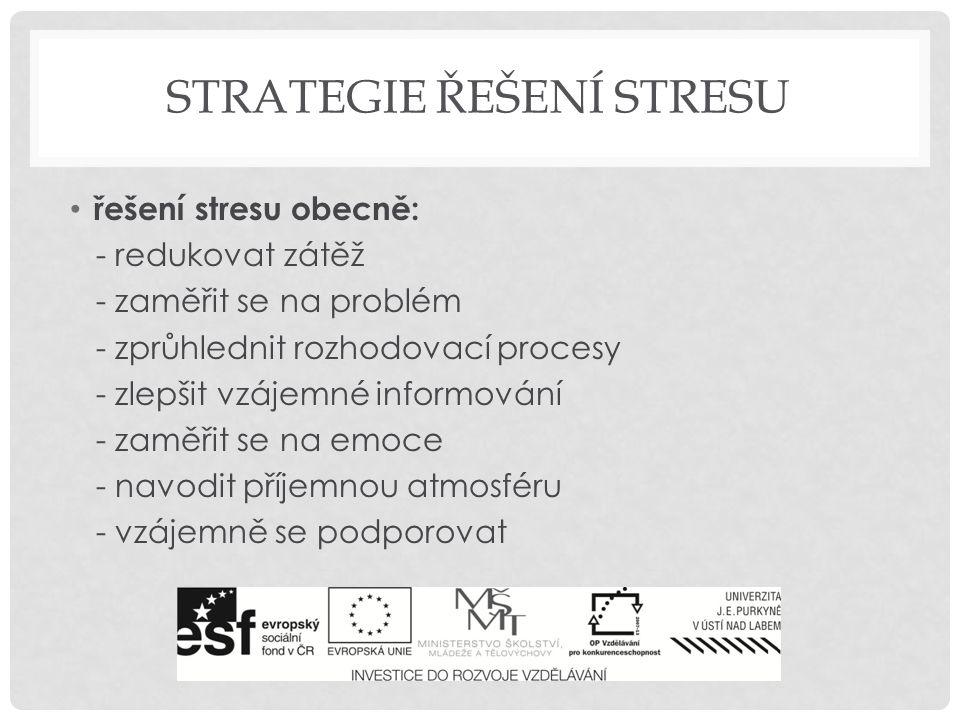 STRATEGIE ŘEŠENÍ STRESU řešení stresu obecně: - redukovat zátěž - zaměřit se na problém - zprůhlednit rozhodovací procesy - zlepšit vzájemné informová