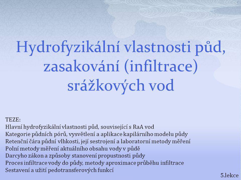 Hydrofyzikální vlastnosti půd, zasakování (infiltrace) srážkových vod 5.lekce TEZE: Hlavní hydrofyzikální vlastnosti půd, související s RaA vod Katego