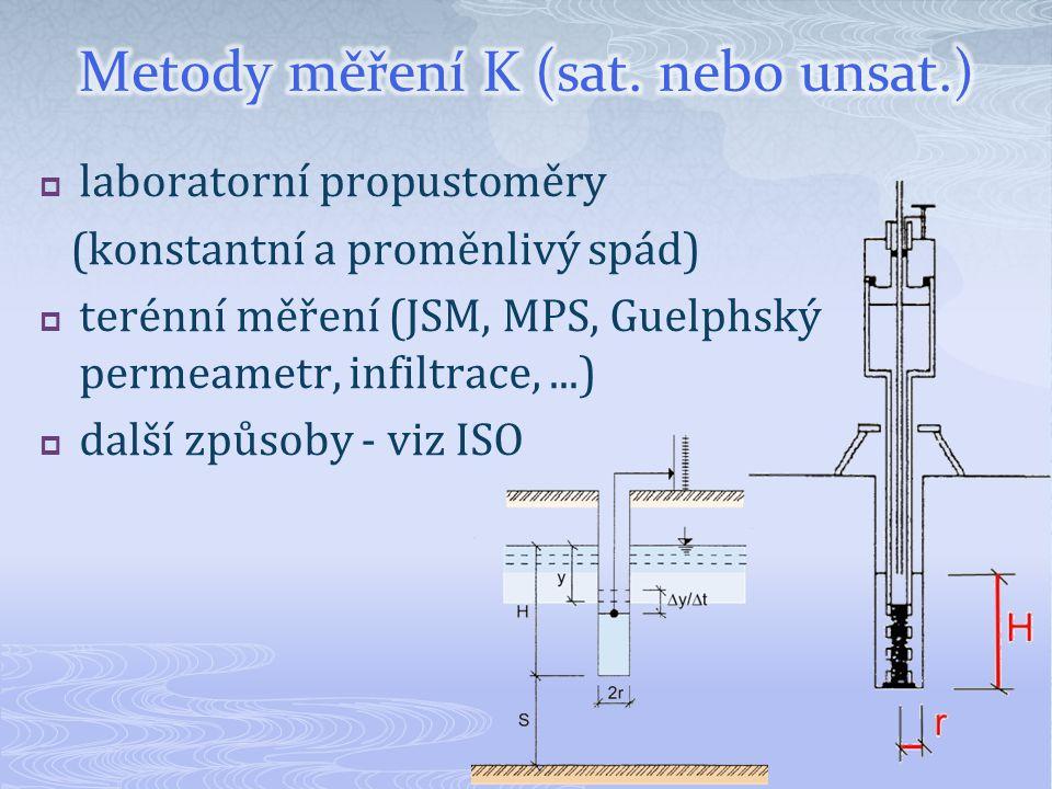  laboratorní propustoměry (konstantní a proměnlivý spád)  terénní měření (JSM, MPS, Guelphský permeametr, infiltrace,...)  další způsoby - viz ISO