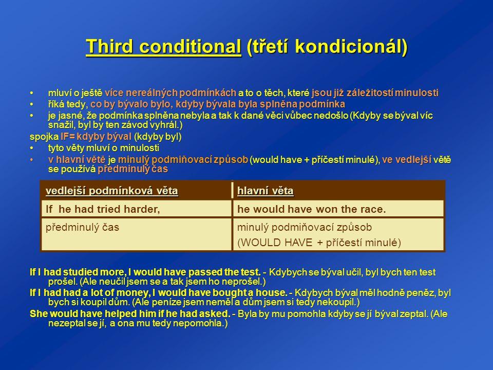 Third conditional (třetí kondicionál) mluví o ještě více nereálných podmínkách a to o těch, které jsou již záležitostí minulostimluví o ještě více ner