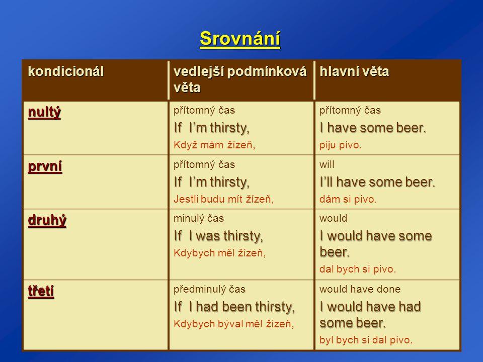 Srovnání kondicionál vedlejší podmínková věta hlavní věta nultý přítomný čas If I'm thirsty, Když mám žízeň, přítomný čas I have some beer. piju pivo.