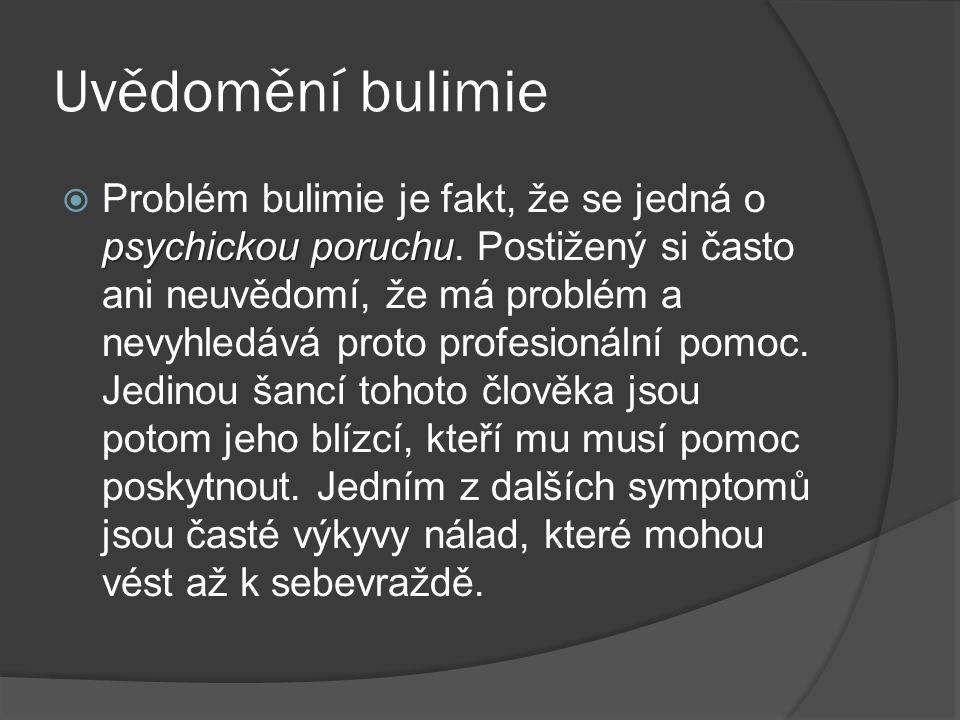 Uvědomění bulimie psychickou poruchu  Problém bulimie je fakt, že se jedná o psychickou poruchu. Postižený si často ani neuvědomí, že má problém a ne