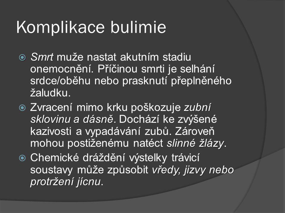 Komplikace bulimie  Smrt  Smrt muže nastat akutním stadiu onemocnění. Příčinou smrti je selhání srdce/oběhu nebo prasknutí přeplněného žaludku. zubn