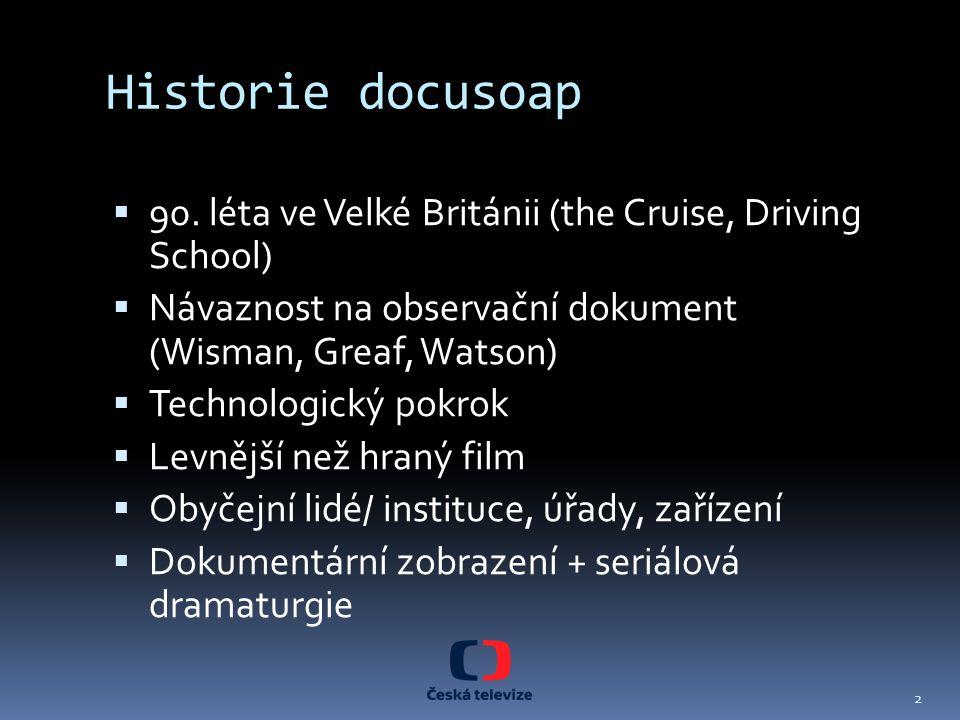 Historie docusoap  90. léta ve Velké Británii (the Cruise, Driving School)  Návaznost na observační dokument (Wisman, Greaf, Watson)  Technologický