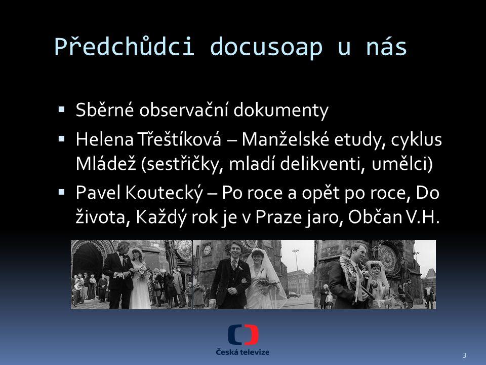 Předchůdci docusoap u nás  Sběrné observační dokumenty  Helena Třeštíková – Manželské etudy, cyklus Mládež (sestřičky, mladí delikventi, umělci)  P