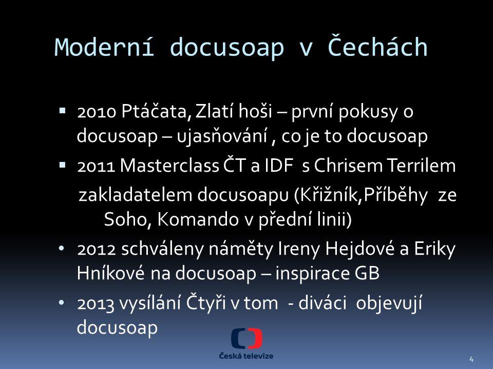 Moderní docusoap v Čechách  2010 Ptáčata, Zlatí hoši – první pokusy o docusoap – ujasňování, co je to docusoap  2011 Masterclass ČT a IDF s Chrisem