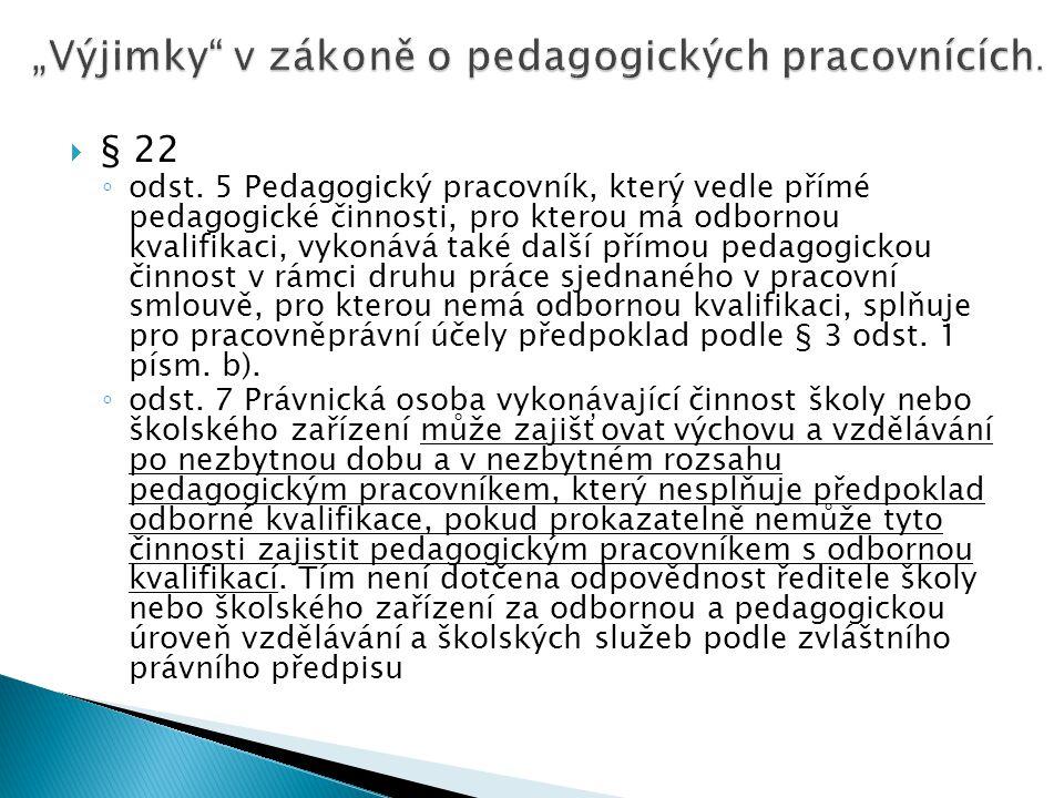  § 22 ◦ odst. 5 Pedagogický pracovník, který vedle přímé pedagogické činnosti, pro kterou má odbornou kvalifikaci, vykonává také další přímou pedagog