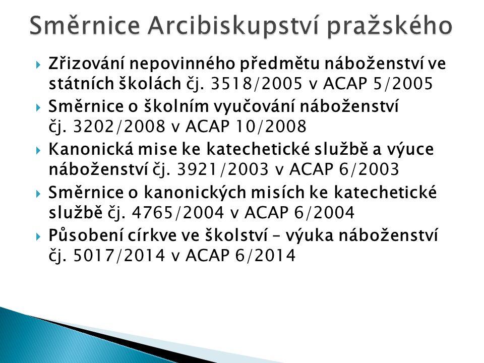  Zřizování nepovinného předmětu náboženství ve státních školách čj. 3518/2005 v ACAP 5/2005  Směrnice o školním vyučování náboženství čj. 3202/2008