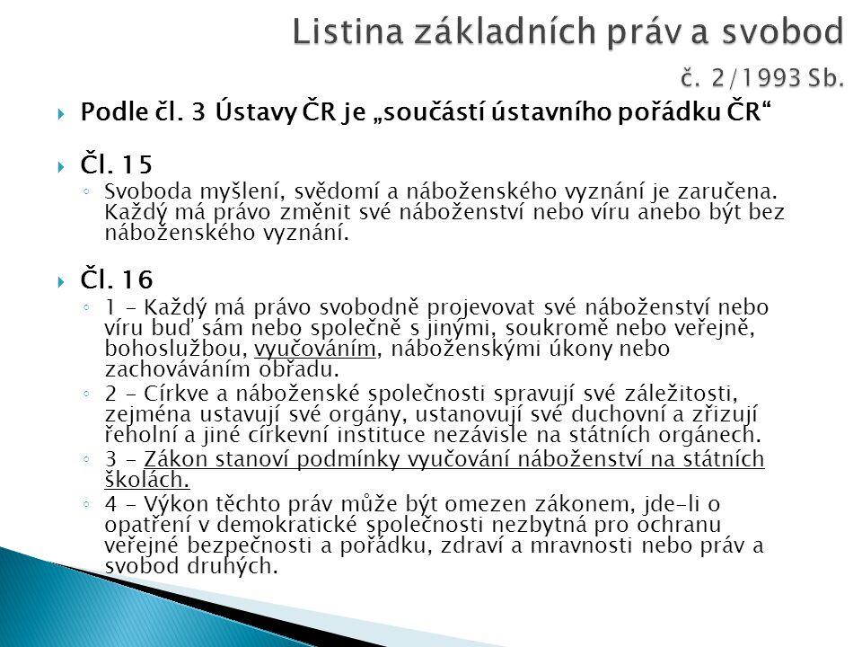 """ Podle čl. 3 Ústavy ČR je """"součástí ústavního pořádku ČR""""  Čl. 15 ◦ Svoboda myšlení, svědomí a náboženského vyznání je zaručena. Každý má právo změn"""