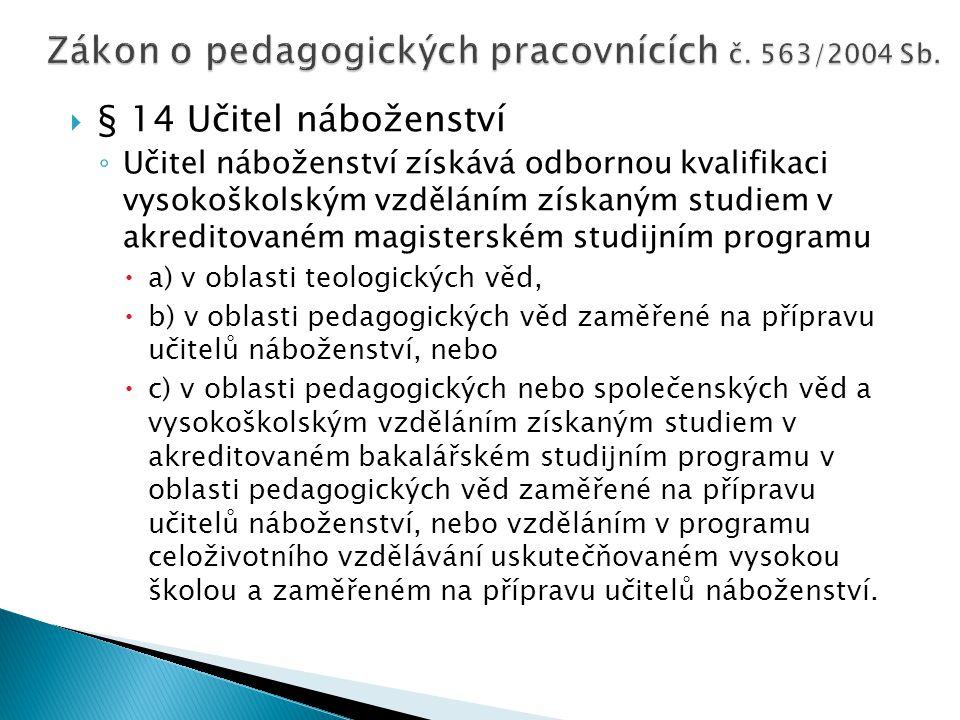  § 14 Učitel náboženství ◦ Učitel náboženství získává odbornou kvalifikaci vysokoškolským vzděláním získaným studiem v akreditovaném magisterském stu