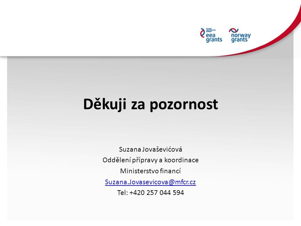 Děkuji za pozornost Suzana Jovaševićová Oddělení přípravy a koordinace Ministerstvo financí Suzana.Jovasevicova@mfcr.cz Tel: +420 257 044 594