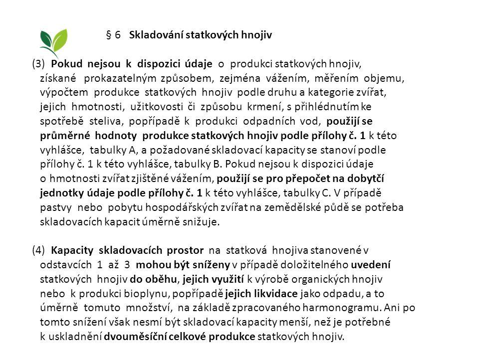 § 6 Skladování statkových hnojiv (3) Pokud nejsou k dispozici údaje o produkci statkových hnojiv, získané prokazatelným způsobem, zejména vážením, měř