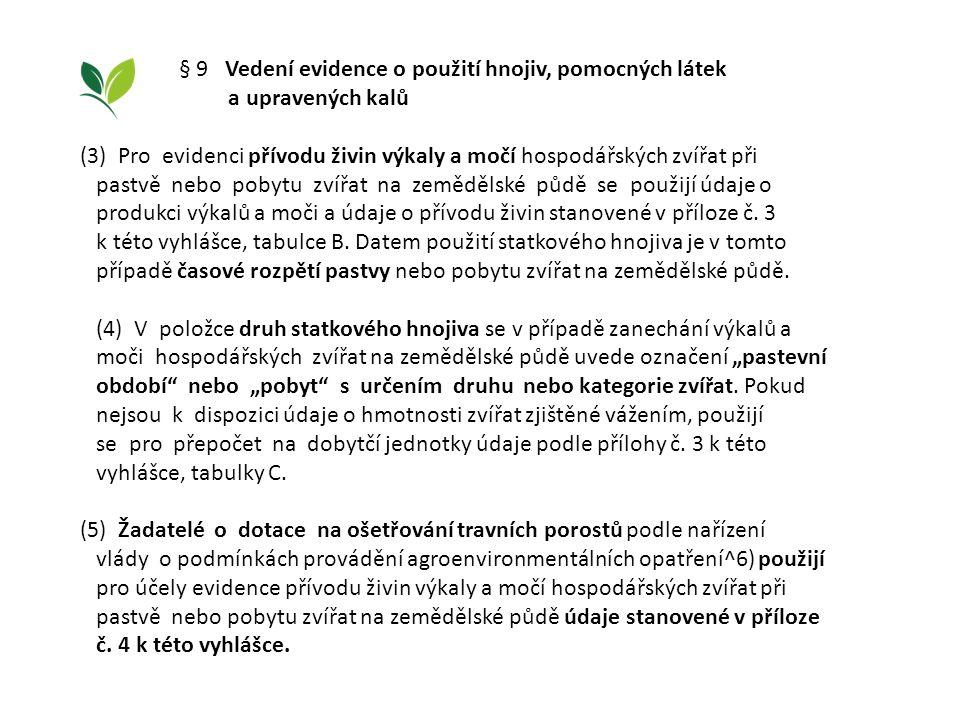 § 9 Vedení evidence o použití hnojiv, pomocných látek a upravených kalů (3) Pro evidenci přívodu živin výkaly a močí hospodářských zvířat při pastvě n