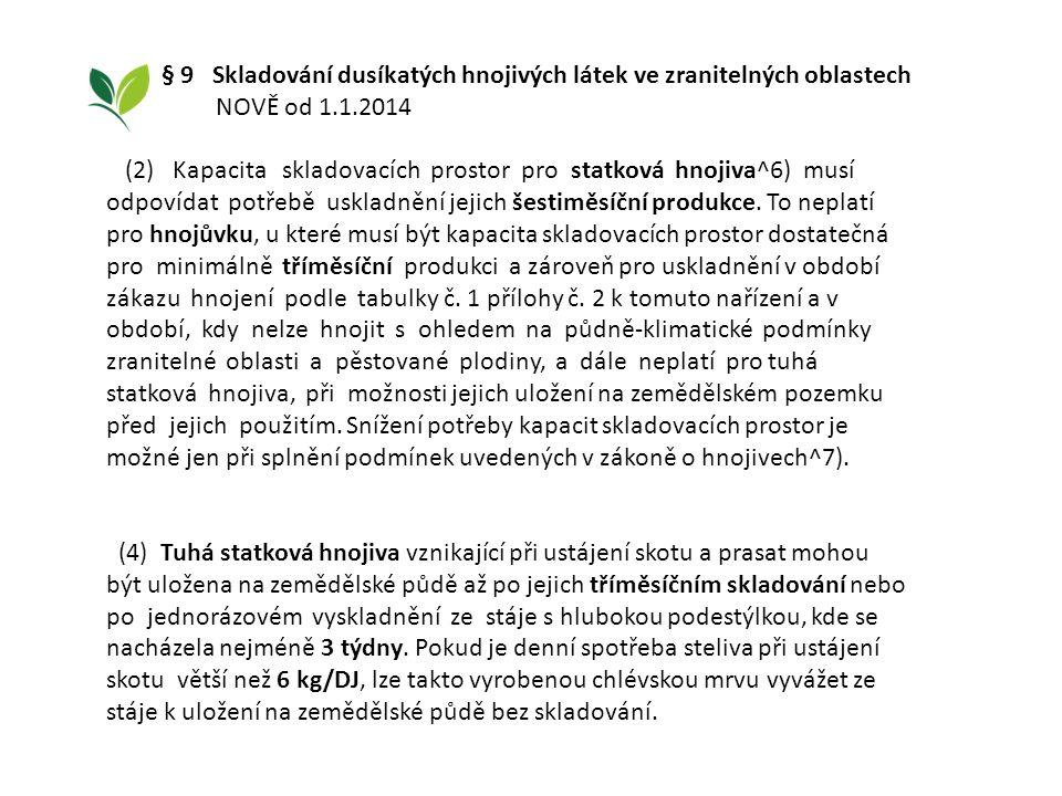 § 9 Skladování dusíkatých hnojivých látek ve zranitelných oblastech NOVĚ od 1.1.2014 (2) Kapacita skladovacích prostor pro statková hnojiva^6) musí od