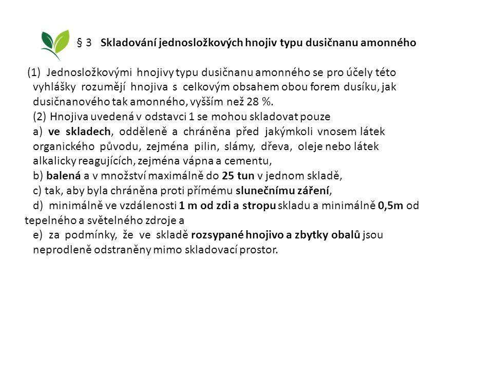 § 3 Skladování jednosložkových hnojiv typu dusičnanu amonného (1) Jednosložkovými hnojivy typu dusičnanu amonného se pro účely této vyhlášky rozumějí