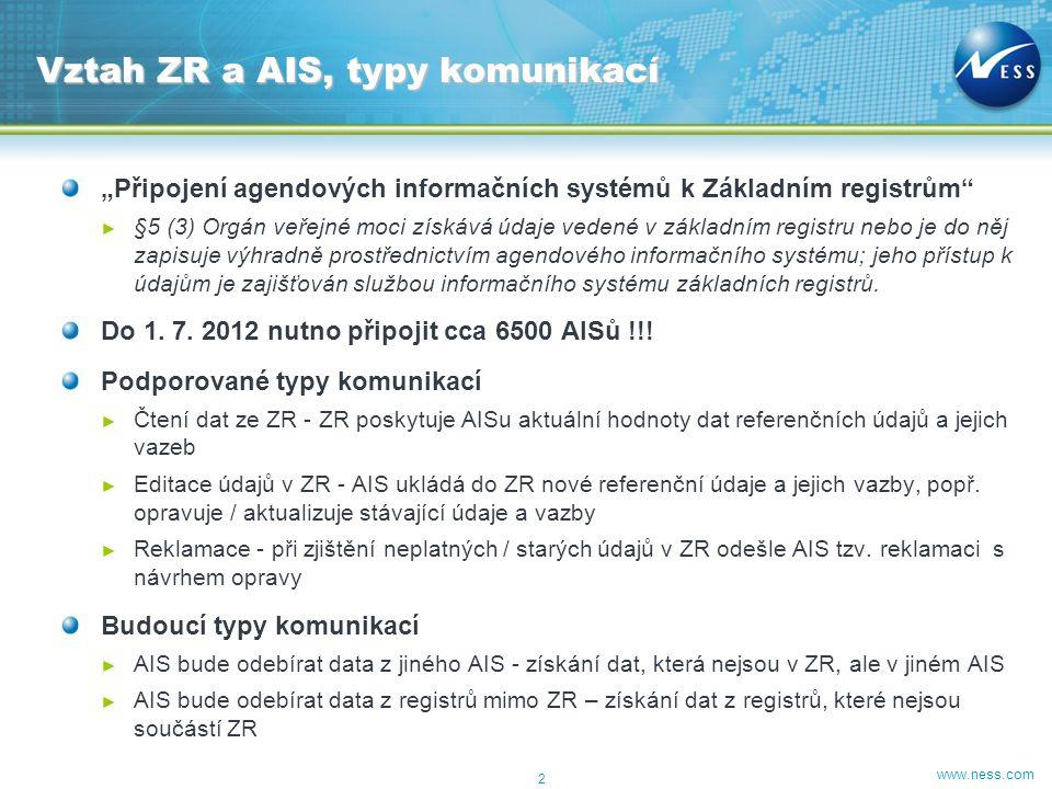 www.ness.com ISZR – rozšířené služby ISZR – základní služby 13 Další rozvoj AIS AIS-Interface AISn REGATA AIS jako poskytovatel dalších dat AIS jako odběratel dat ZR AIS 1AIS 2 AIS jako poskytovatel dalších dat Základní registry REGATA