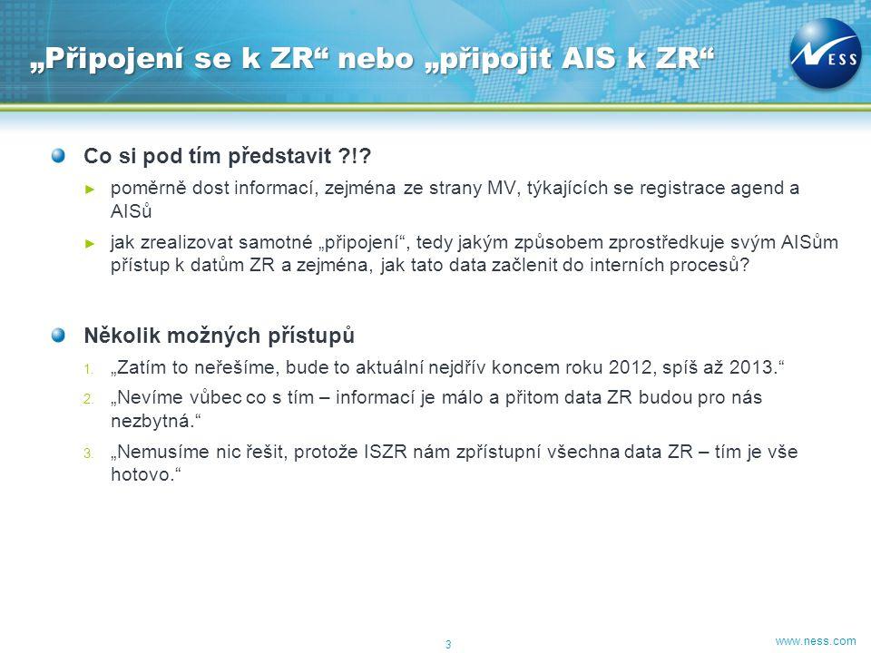 www.ness.com Co si pod tím představit ?!? ► poměrně dost informací, zejména ze strany MV, týkajících se registrace agend a AISů ► jak zrealizovat samo