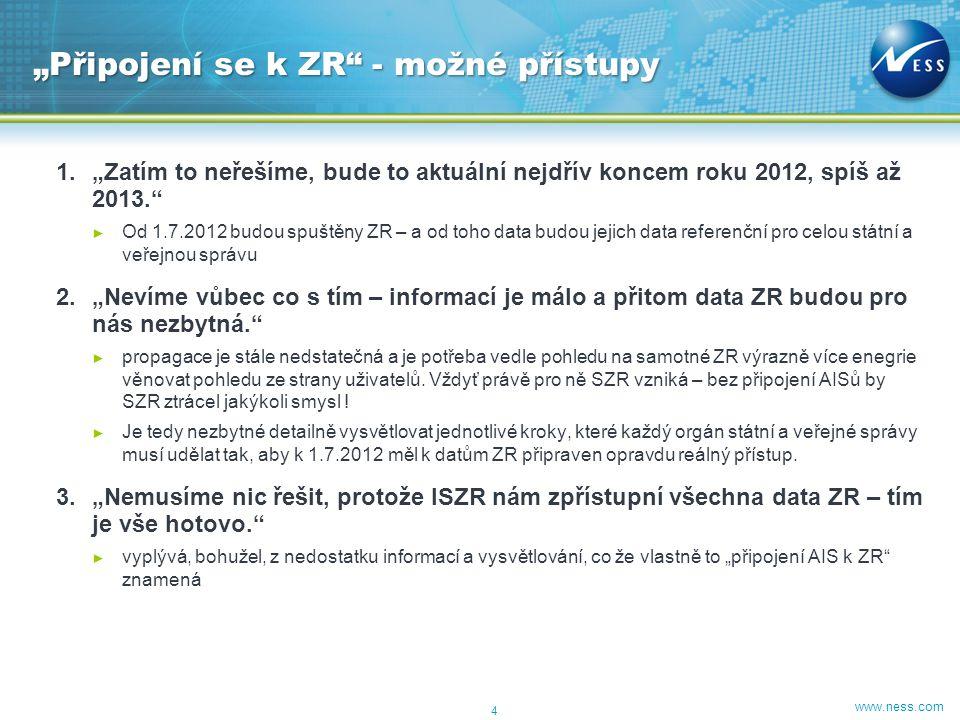 """www.ness.com 1.""""Zatím to neřešíme, bude to aktuální nejdřív koncem roku 2012, spíš až 2013."""" ► Od 1.7.2012 budou spuštěny ZR – a od toho data budou je"""