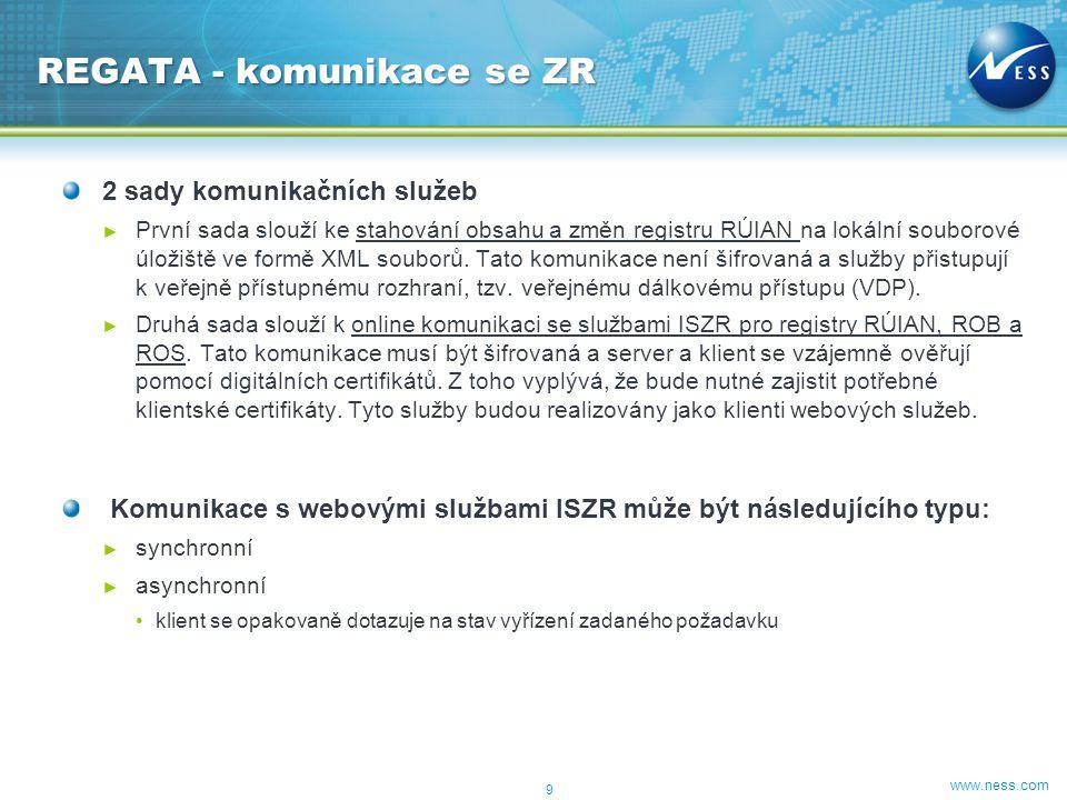 www.ness.com 2 sady komunikačních služeb ► První sada slouží ke stahování obsahu a změn registru RÚIAN na lokální souborové úložiště ve formě XML soub