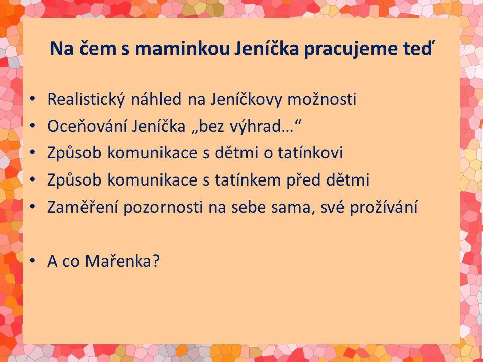 """Na čem s maminkou Jeníčka pracujeme teď Realistický náhled na Jeníčkovy možnosti Oceňování Jeníčka """"bez výhrad… Způsob komunikace s dětmi o tatínkovi Způsob komunikace s tatínkem před dětmi Zaměření pozornosti na sebe sama, své prožívání A co Mařenka"""