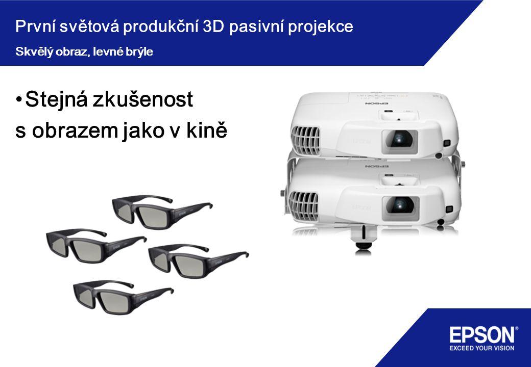 První světová produkční 3D pasivní projekce Stejná zkušenost s obrazem jako v kině Skvělý obraz, levné brýle
