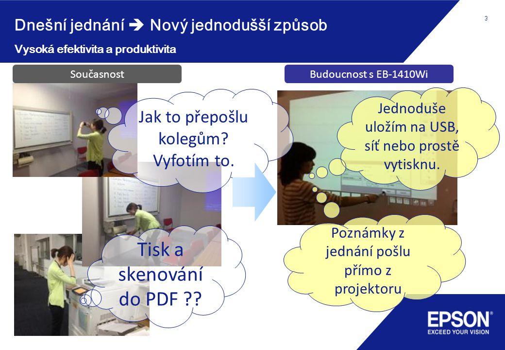3 Dnešní jednání  Nový jednodušší způsob Vysoká efektivita a produktivita 3 Tisk a skenování do PDF .