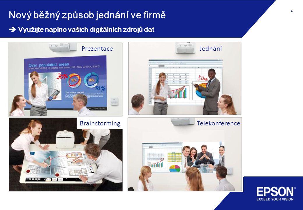 4 Nový běžný způsob jednání ve firmě  Využijte naplno vašich digitálních zdrojů dat 4 PrezentaceJednání TelekonferenceBrainstorming