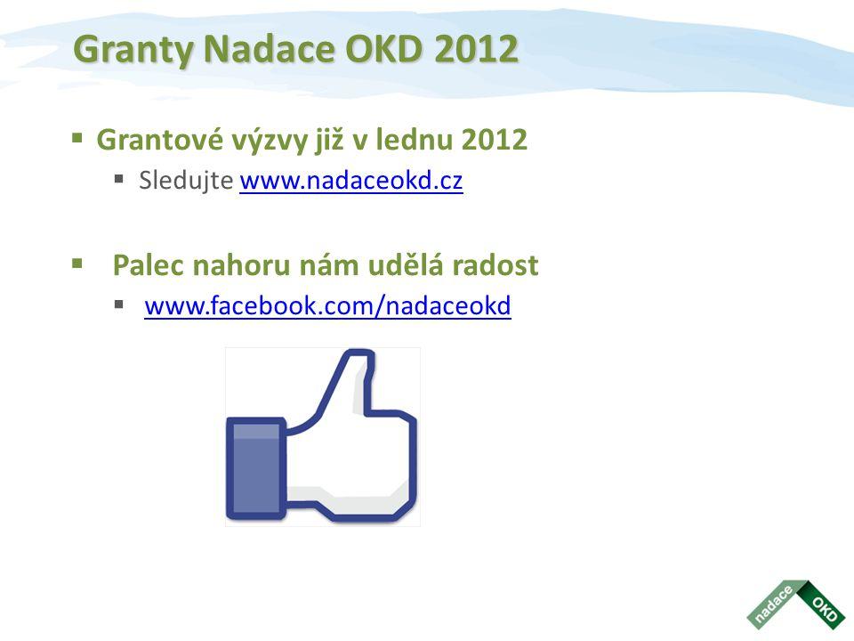 Granty Nadace OKD 2012  Grantové výzvy již v lednu 2012  Sledujte www.nadaceokd.czwww.nadaceokd.cz  Palec nahoru nám udělá radost  www.facebook.com/nadaceokd www.facebook.com/nadaceokd