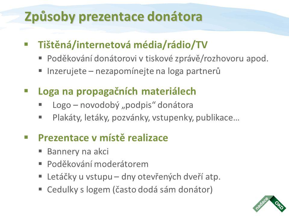 Způsoby prezentace donátora  Tištěná/internetová média/rádio/TV  Poděkování donátorovi v tiskové zprávě/rozhovoru apod.