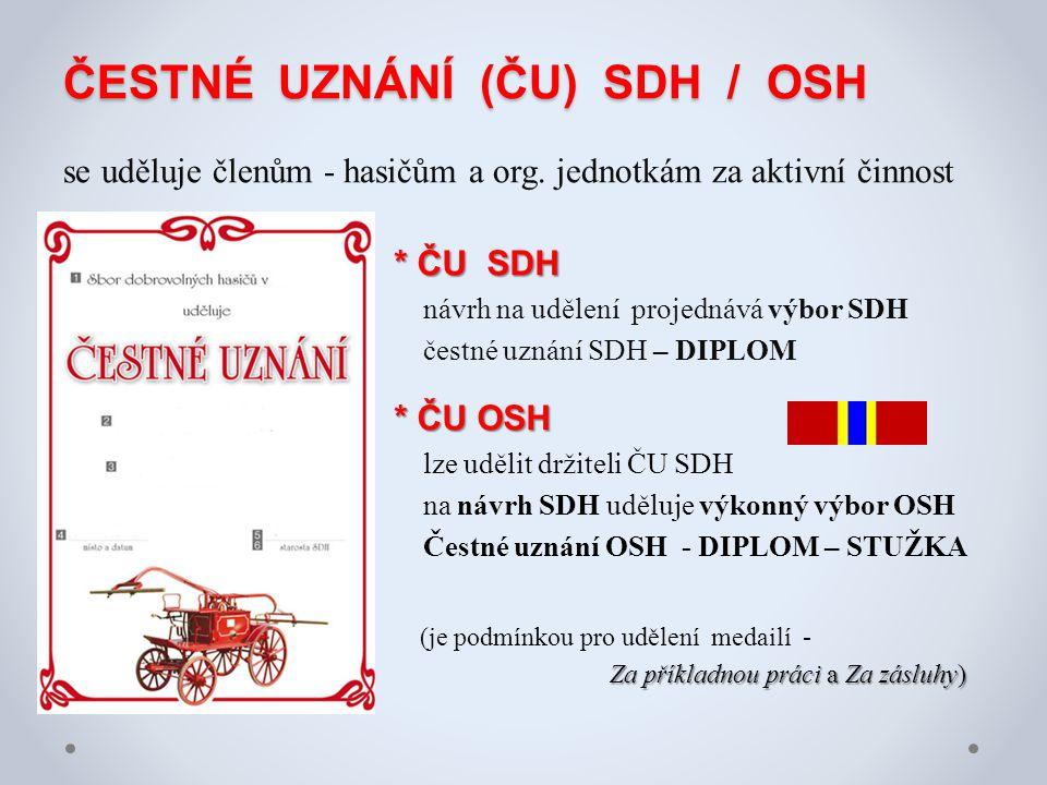 ČESTNÉ UZNÁNÍ (ČU) SDH / OSH ČESTNÉ UZNÁNÍ (ČU) SDH / OSH se uděluje členům - hasičům a org. jednotkám za aktivní činnost * ČU SDH návrh na udělení pr