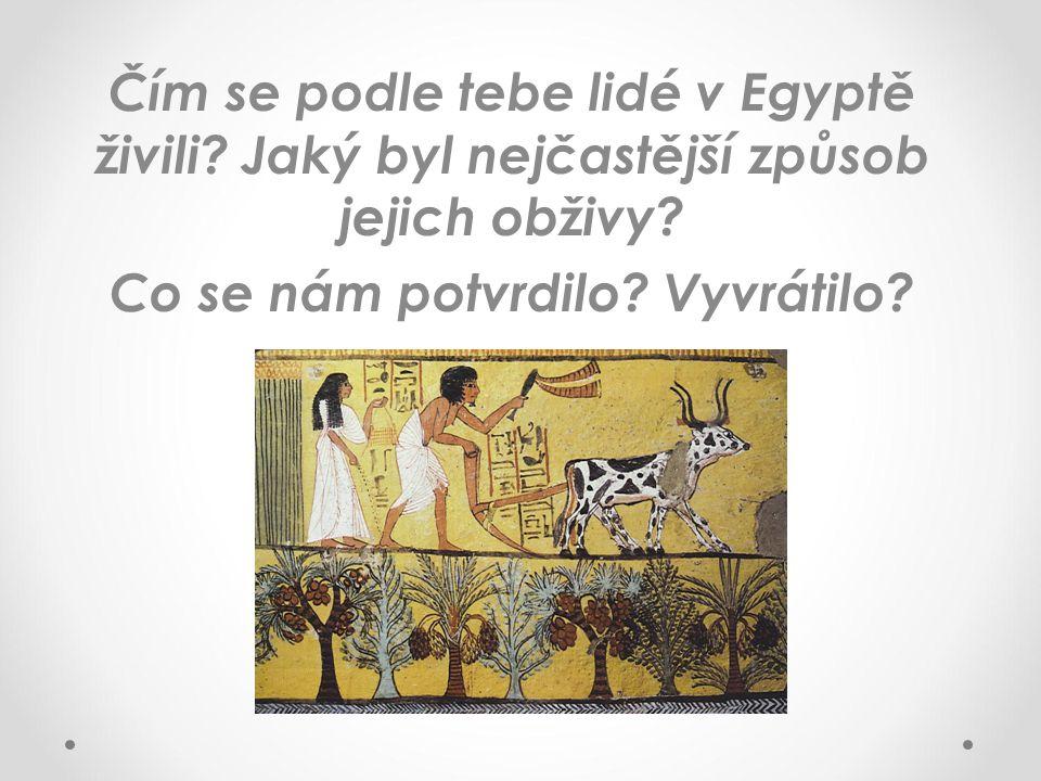 Čím se podle tebe lidé v Egyptě živili? Jaký byl nejčastější způsob jejich obživy? Co se nám potvrdilo? Vyvrátilo?