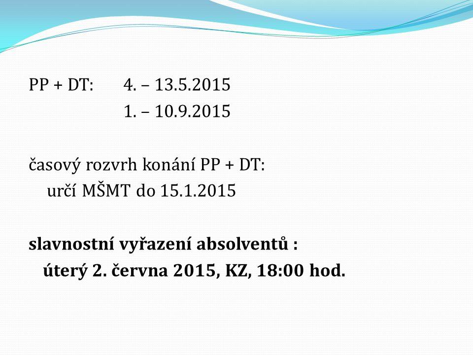 PP + DT:4. – 13.5.2015 1. – 10.9.2015 časový rozvrh konání PP + DT: určí MŠMT do 15.1.2015 slavnostní vyřazení absolventů : úterý 2. června 2015, KZ,