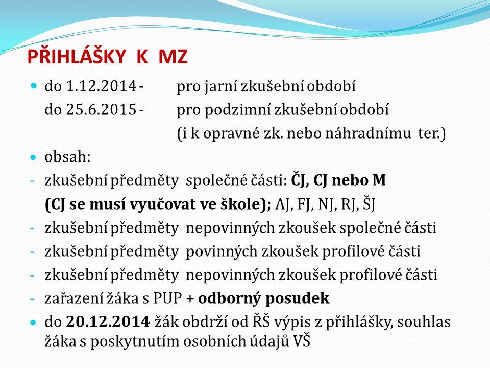 PŘIHLÁŠKY K MZ do 1.12.2014 -pro jarní zkušební období do 25.6.2015 -pro podzimní zkušební období (i k opravné zk. nebo náhradnímu ter.)  obsah: - zk