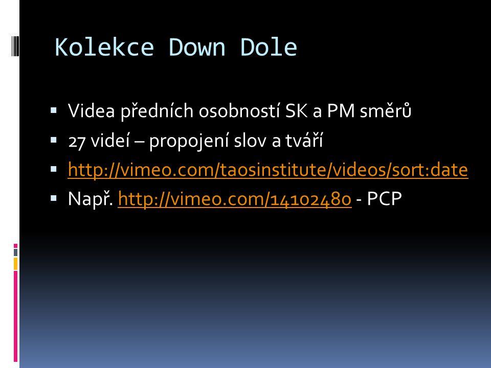 Kolekce Down Dole  Videa předních osobností SK a PM směrů  27 videí – propojení slov a tváří  http://vimeo.com/taosinstitute/videos/sort:date http://vimeo.com/taosinstitute/videos/sort:date  Např.