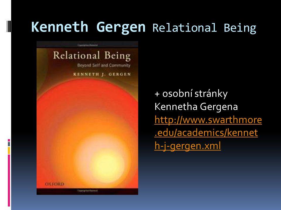 Kenneth Gergen Relational Being + osobní stránky Kennetha Gergena http://www.swarthmore.edu/academics/kennet h-j-gergen.xml
