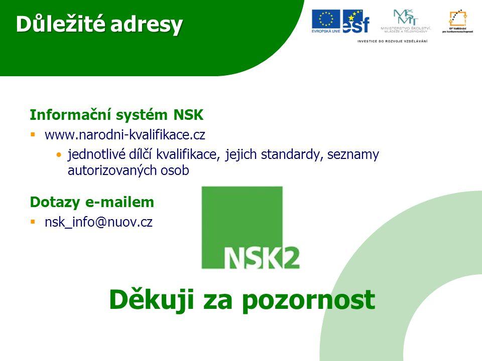 Důležité adresy Informační systém NSK  www.narodni-kvalifikace.cz jednotlivé dílčí kvalifikace, jejich standardy, seznamy autorizovaných osob Dotazy e-mailem  nsk_info@nuov.cz Děkuji za pozornost