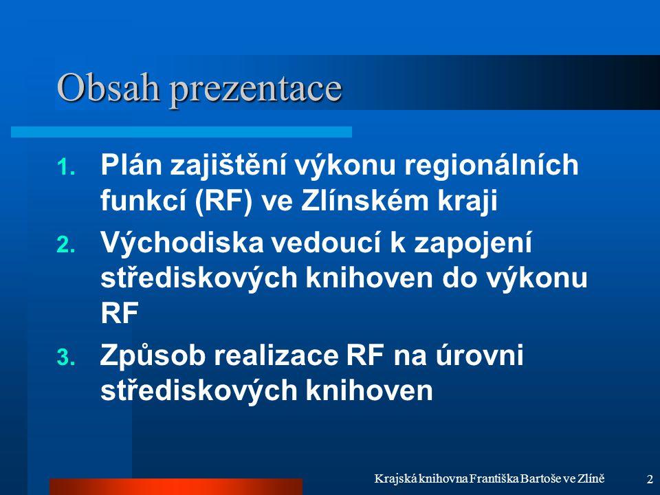 2 Krajská knihovna Františka Bartoše ve Zlíně Obsah prezentace 1. Plán zajištění výkonu regionálních funkcí (RF) ve Zlínském kraji 2. Východiska vedou